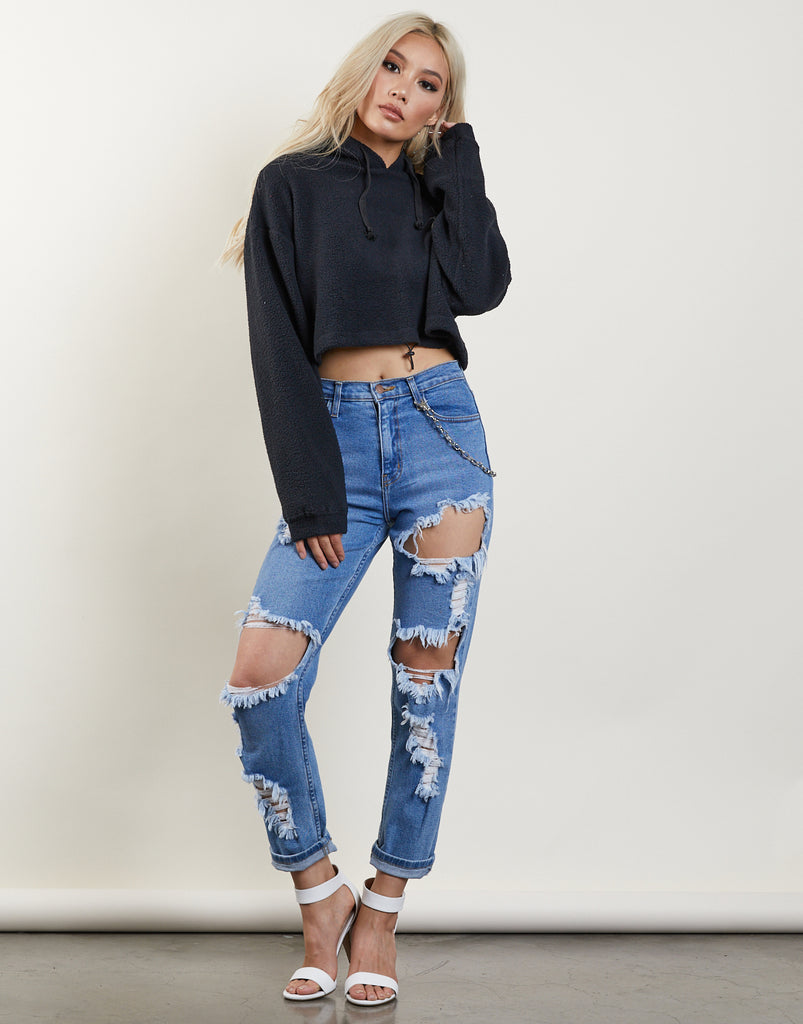 Must-Have Cropped Fuzzy Hoodie Tops Black Small -2020AVE