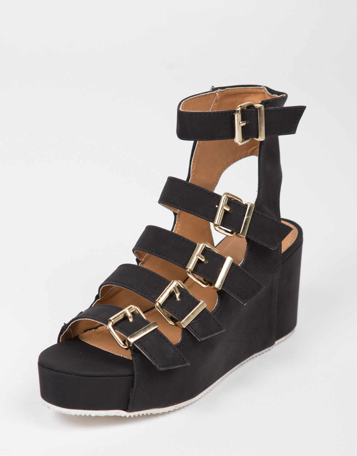 Flatform Buckled Gladiator Sandals - 2020AVE