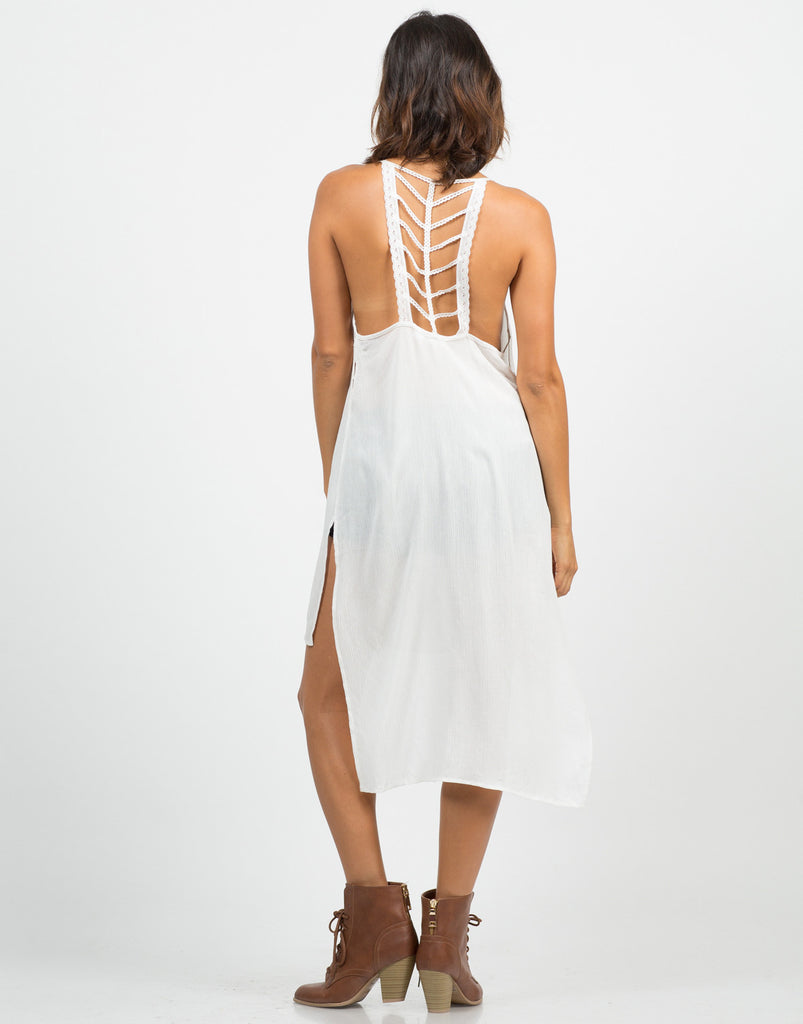 Skeletal Crochet Back Tunic Cami Dress - 2020AVE