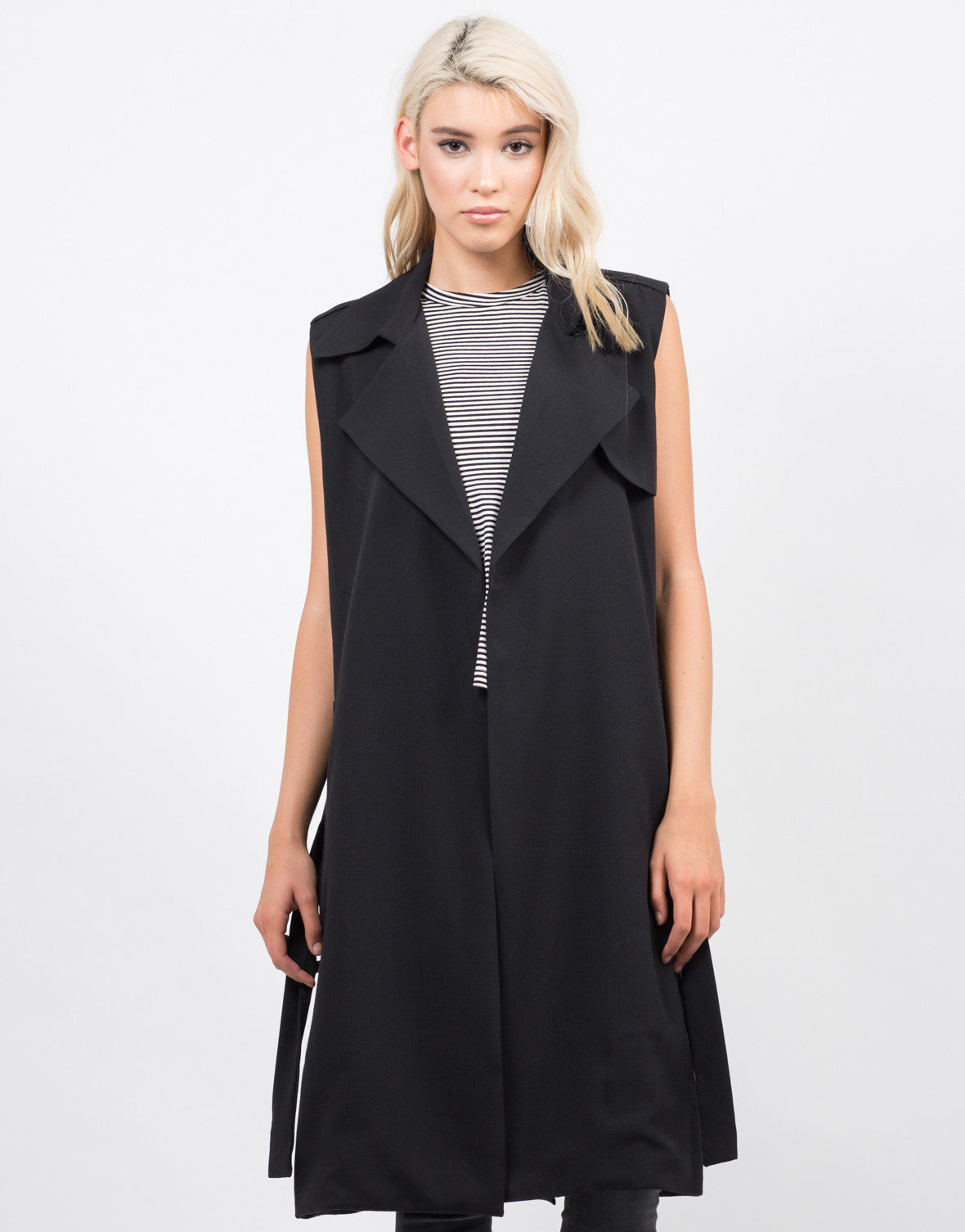 Front View of Sleeveless Belted Trench Coat