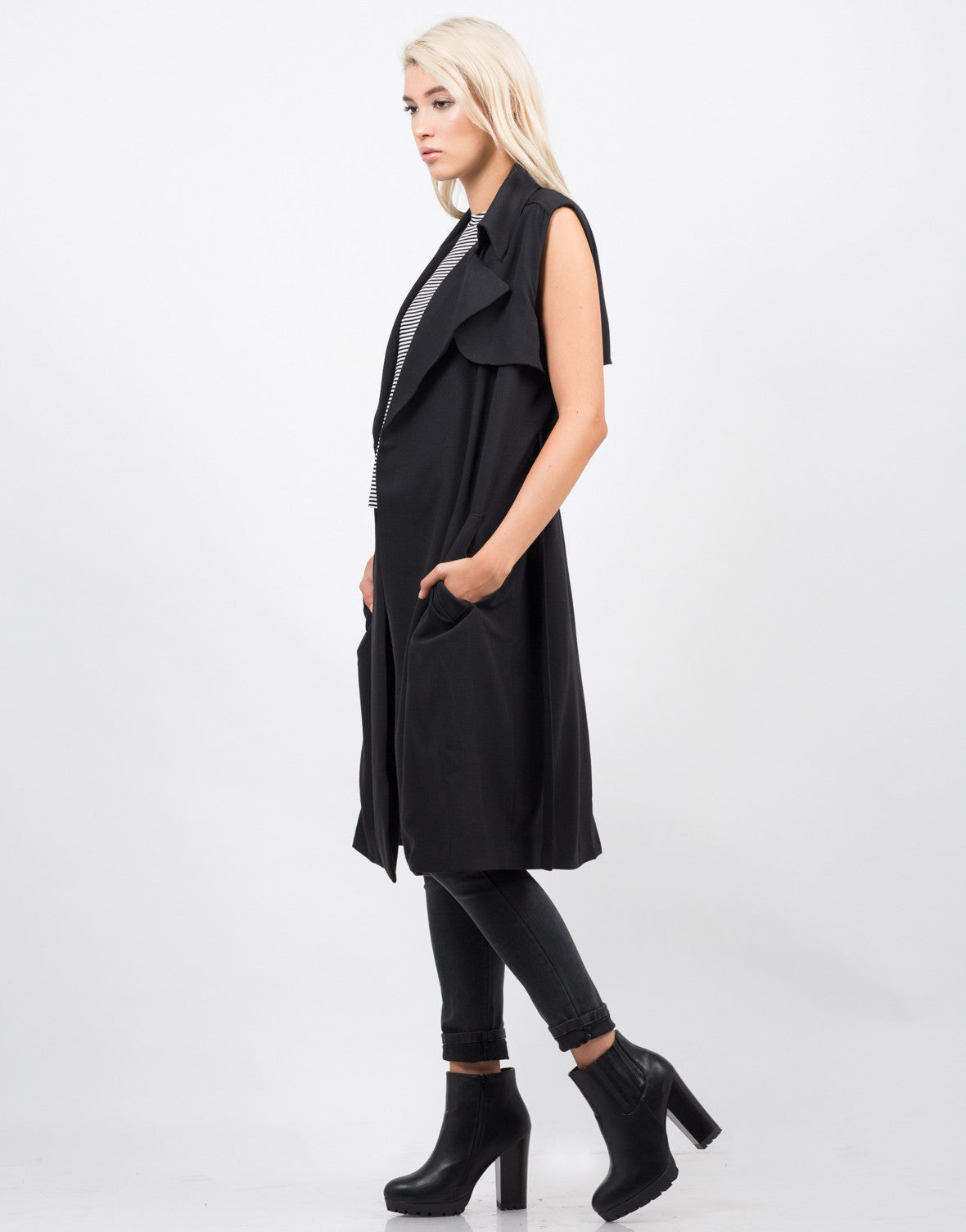 Side View of Sleeveless Belted Trench Coat