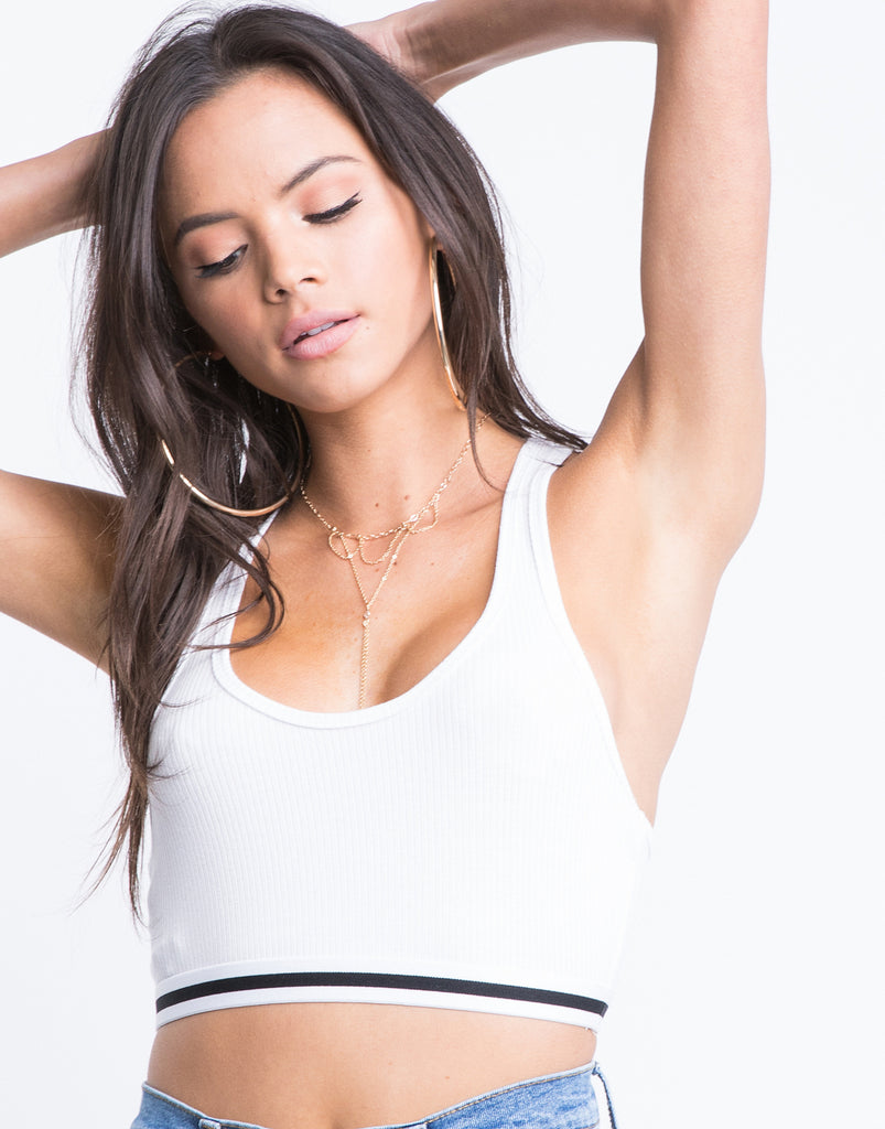 On Repeat Racerback Crop Top Tops White Small -2020AVE