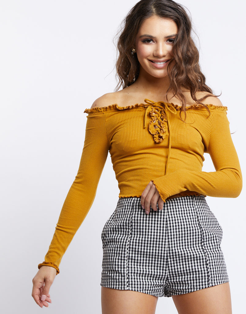 One Fine Day Crop Top Tops Mustard Small -2020AVE