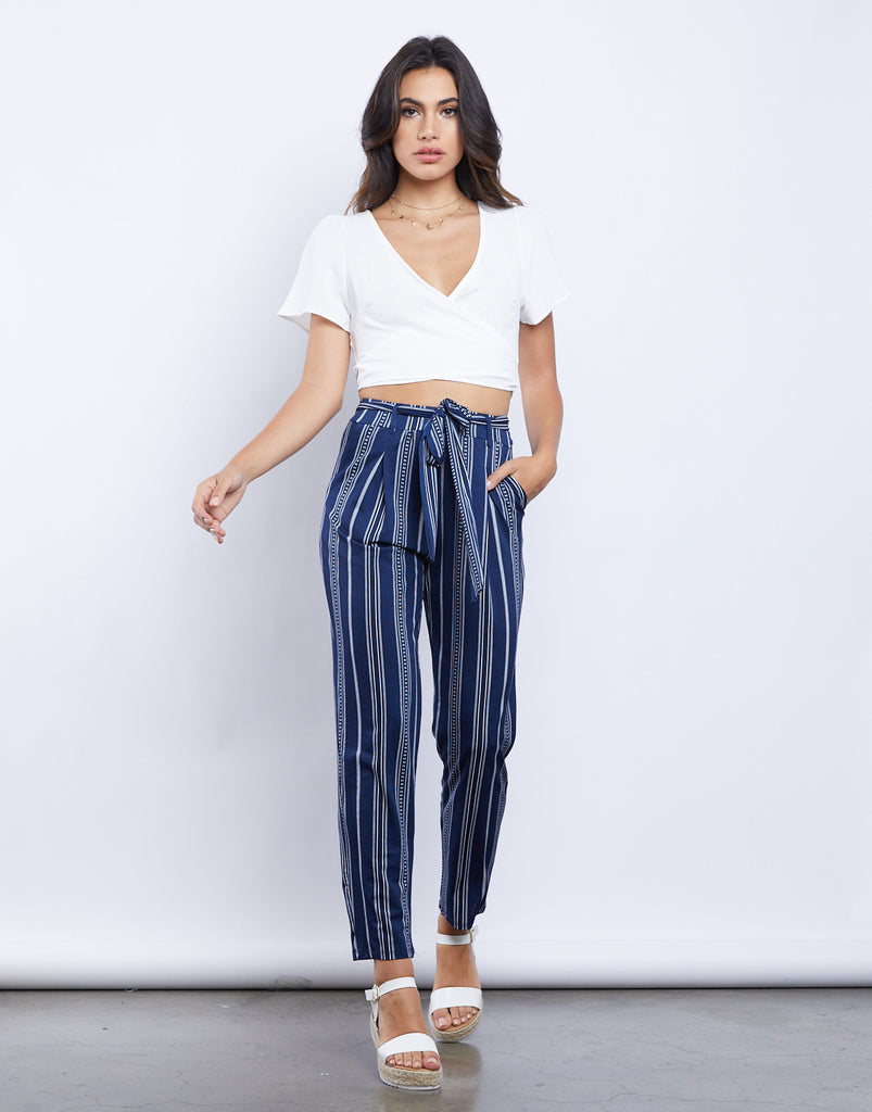 Open Ocean Striped Pants Bottoms Navy Small -2020AVE