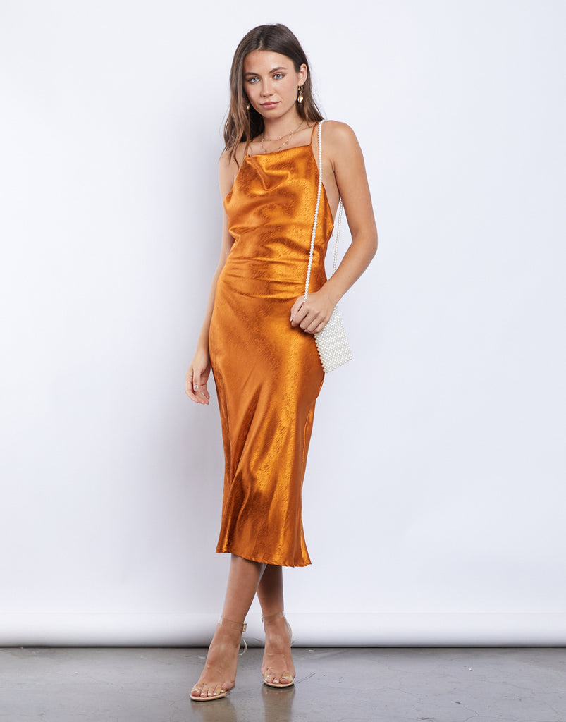 Orange Crush Silky Midi Dress Dresses Orange Small -2020AVE