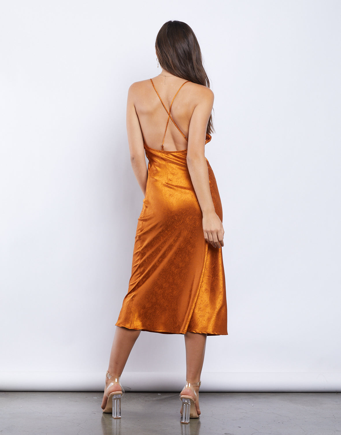 Orange Crush Silky Midi Dress
