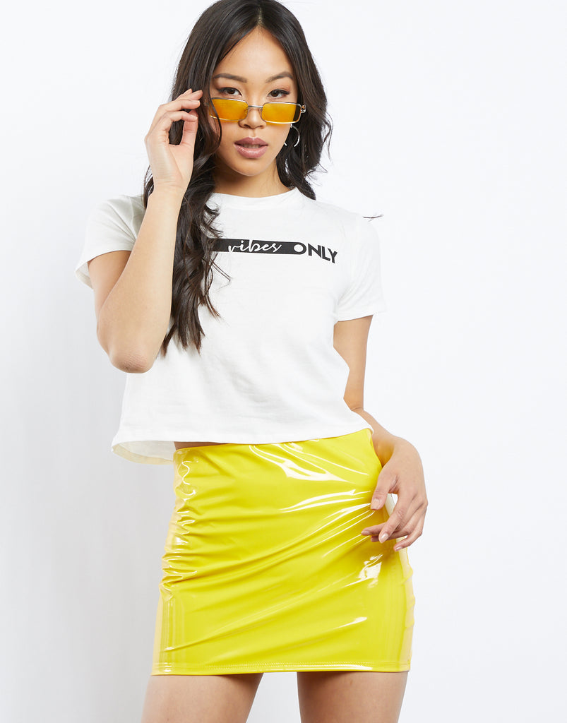 Outta Space Neon Latex Skirt Bottoms Yellow Small -2020AVE