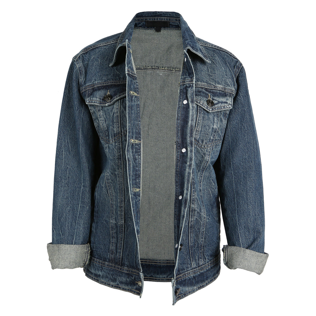 Oversized Acid Wash Denim Jacket - 2020AVE