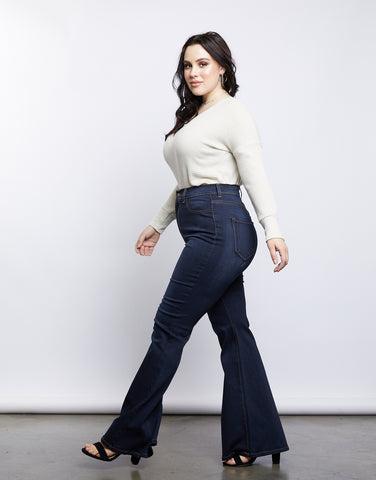 Plus Size 70s Girl Flared Jeans
