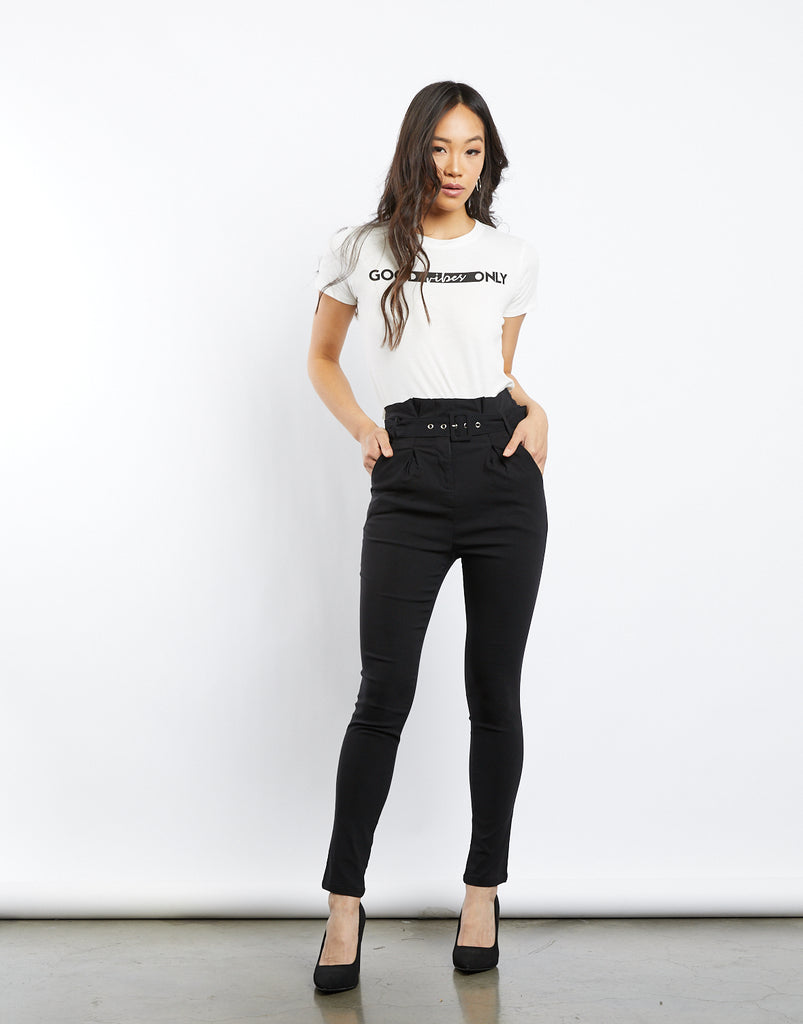 Kylie Belted Pants Bottoms Black Small -2020AVE