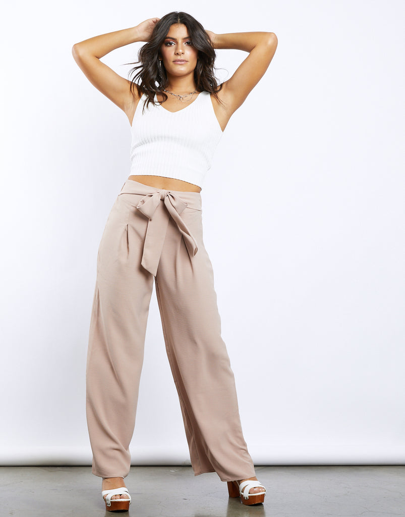 Palm Desert Wide Leg Pants Bottoms Taupe Small -2020AVE