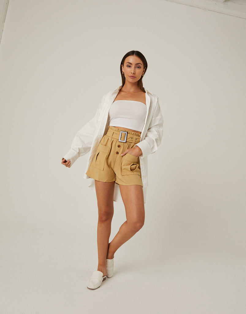 Paper Bag Belted Shorts Bottoms -2020AVE