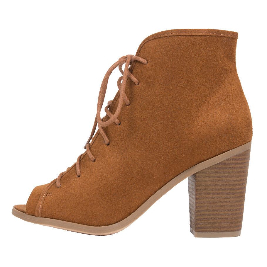 Peep Toe Lace Up Booties - 2020AVE