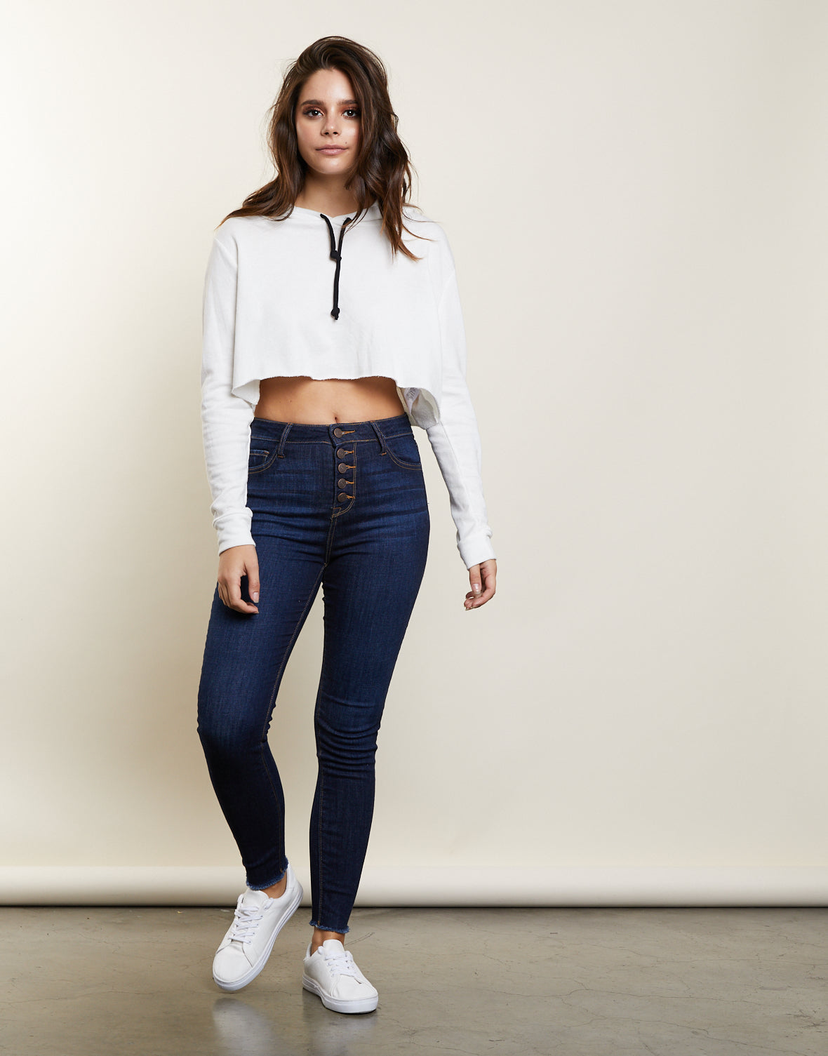 Penelope Button Front Skinny Jeans