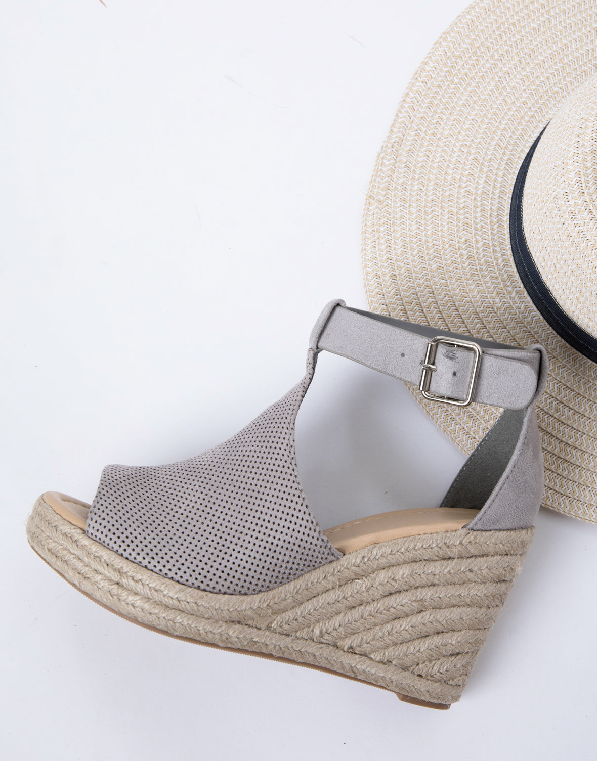 Perforated Suede Espadrille Wedge