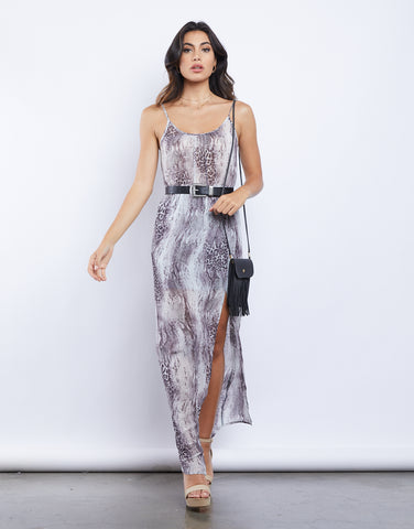 Phoenix Sheer Snakeskin Maxi Dress