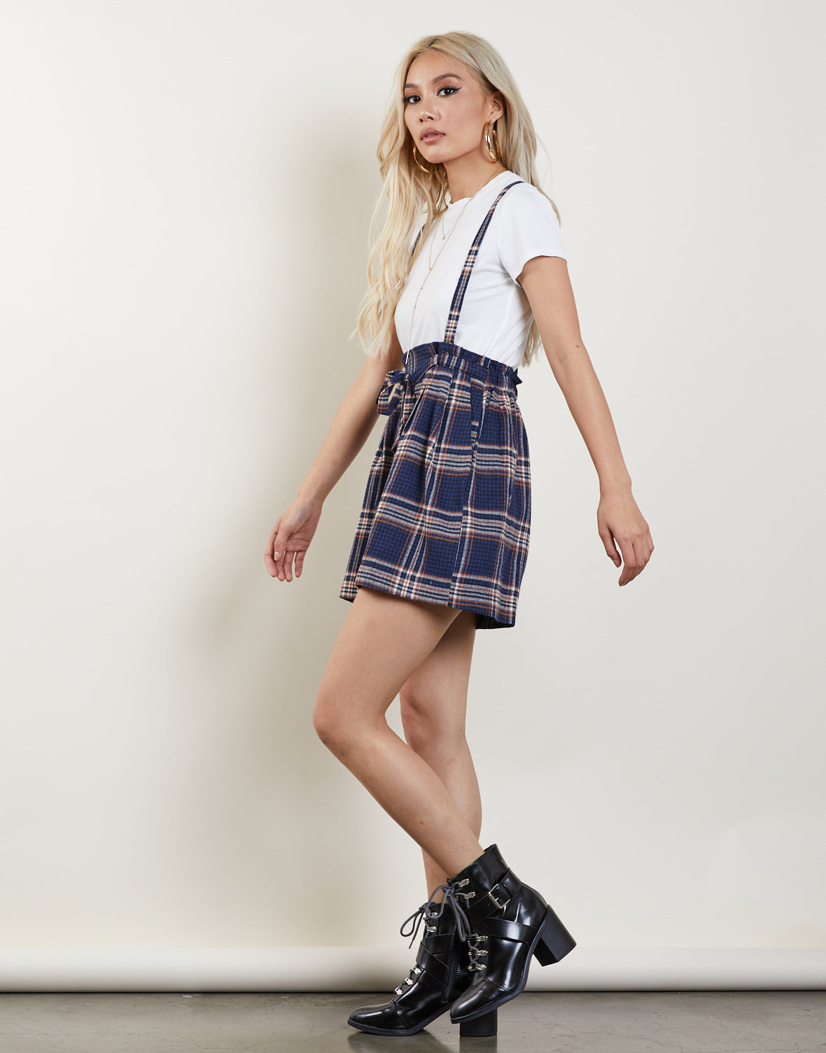 Plaid Overall Jumper Skirt