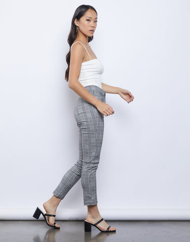Plaid Slim Leg Pants