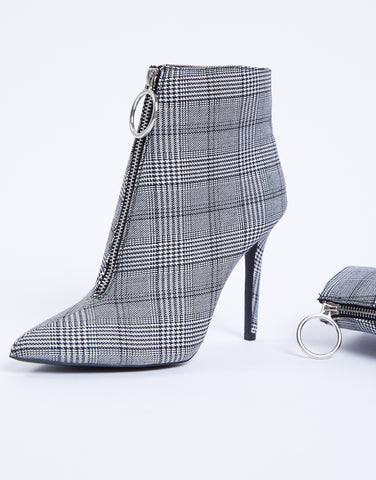 Plaid Zipper Booties