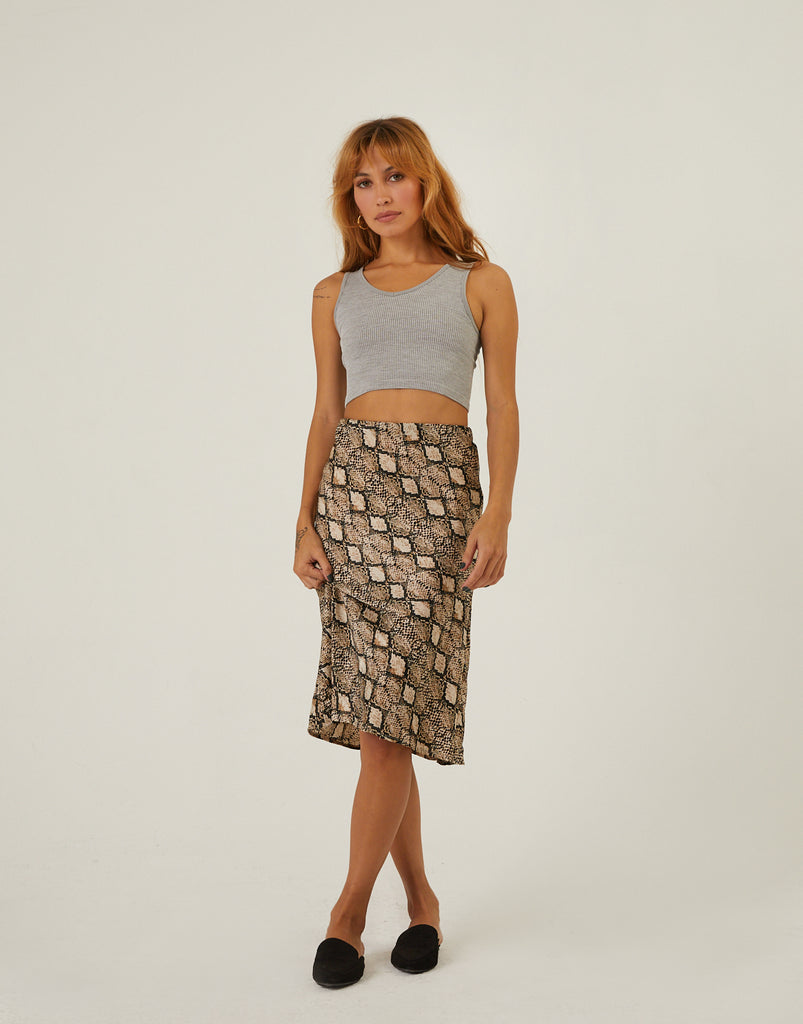 Charmed Snake Print Midi Skirt Bottoms Snake Small -2020AVE