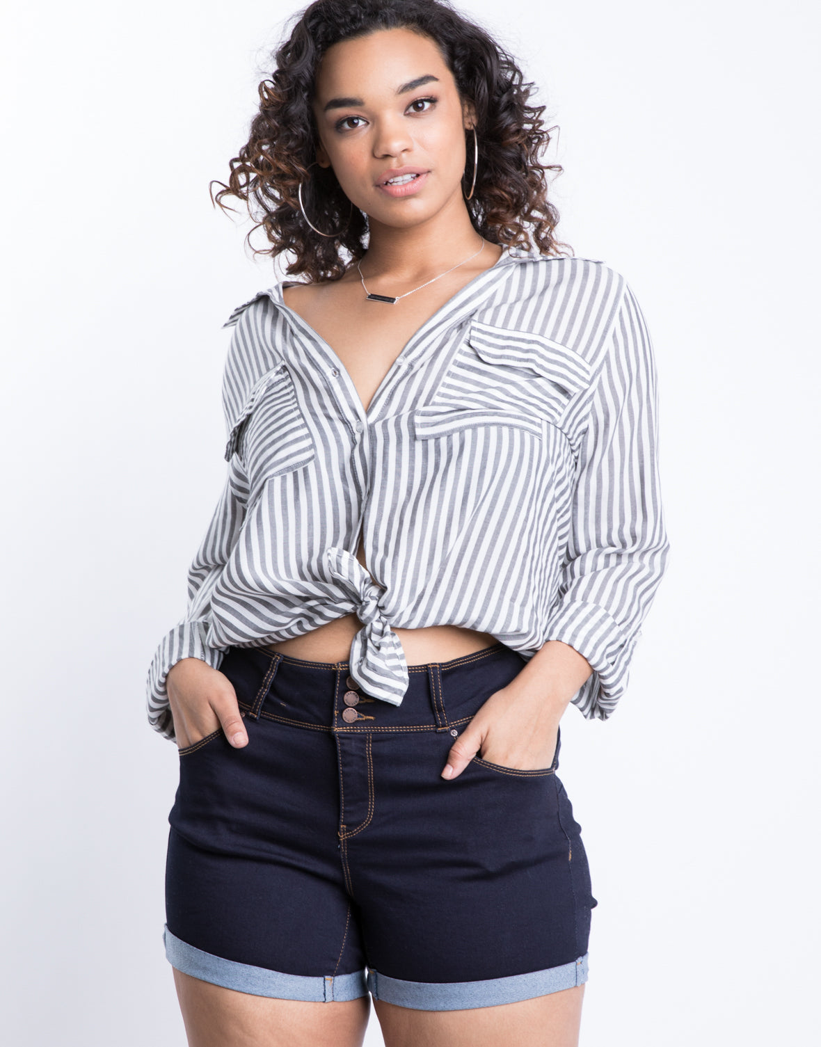 Plus Size Button Up Cuffed Shorts