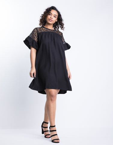 Plus Size Crochet Little Black Dress
