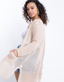 Plus Size Honeycomb Longline Cardigan