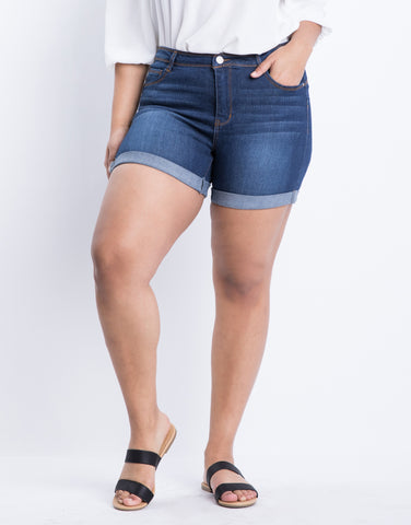 Plus Size Simply Cuffed Denim Shorts