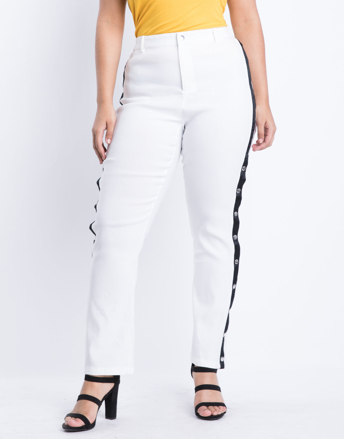 Plus Size Snap Down Track Pants