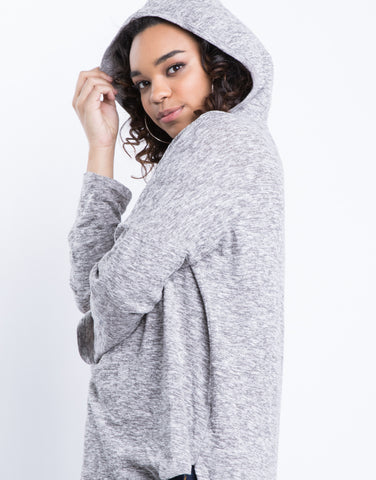 Plus Size Soft Hooded Sweater