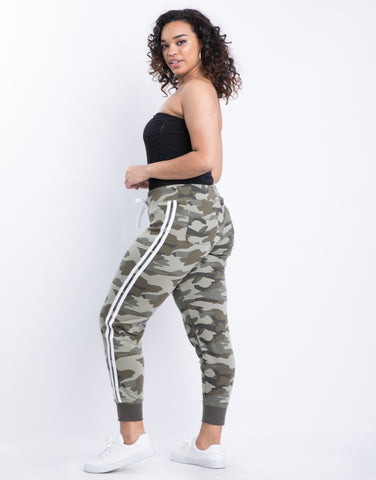 Plus Size Sporty Camo Joggers