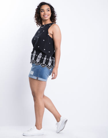 Plus Size World Travels Embroidered Tank