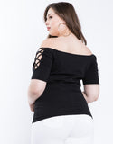 Plus Size Criss Cross Sleeves Top