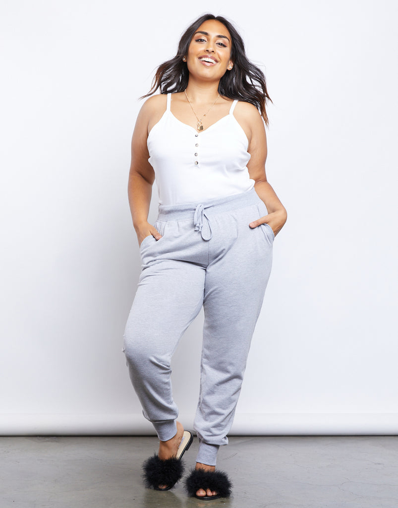 Curve Active Joggers Plus Size Bottoms Heather Gray 1XL -2020AVE