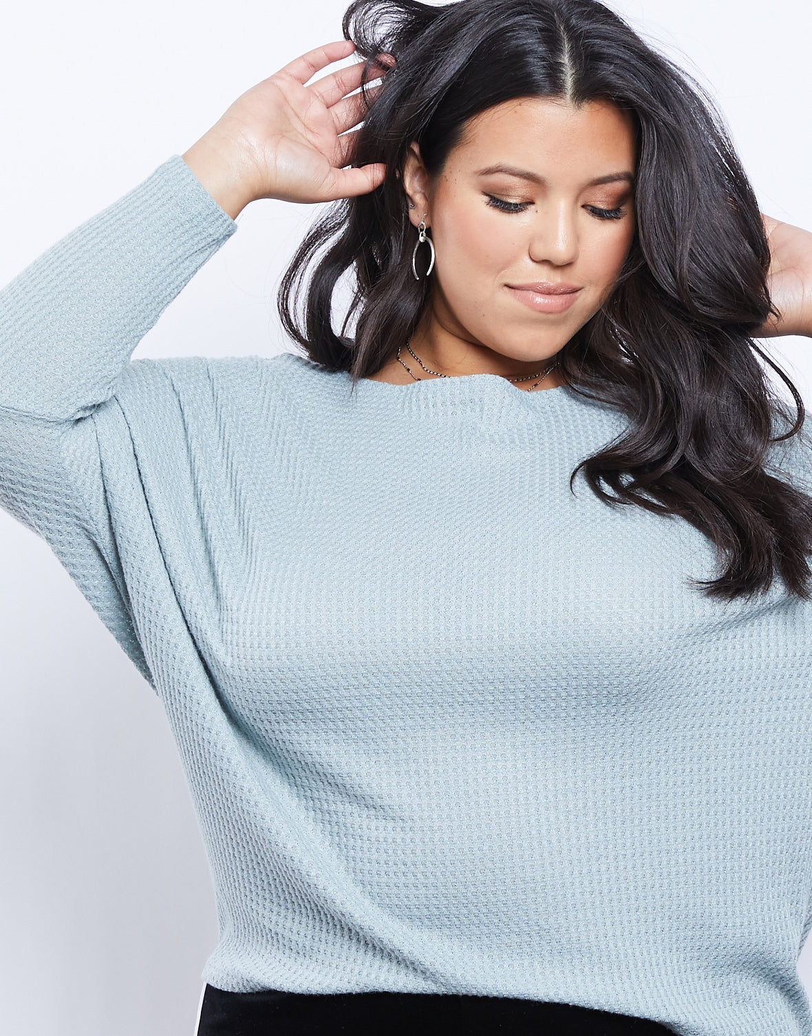 Plus Size All Day Thermal Dolman Sleeve Top