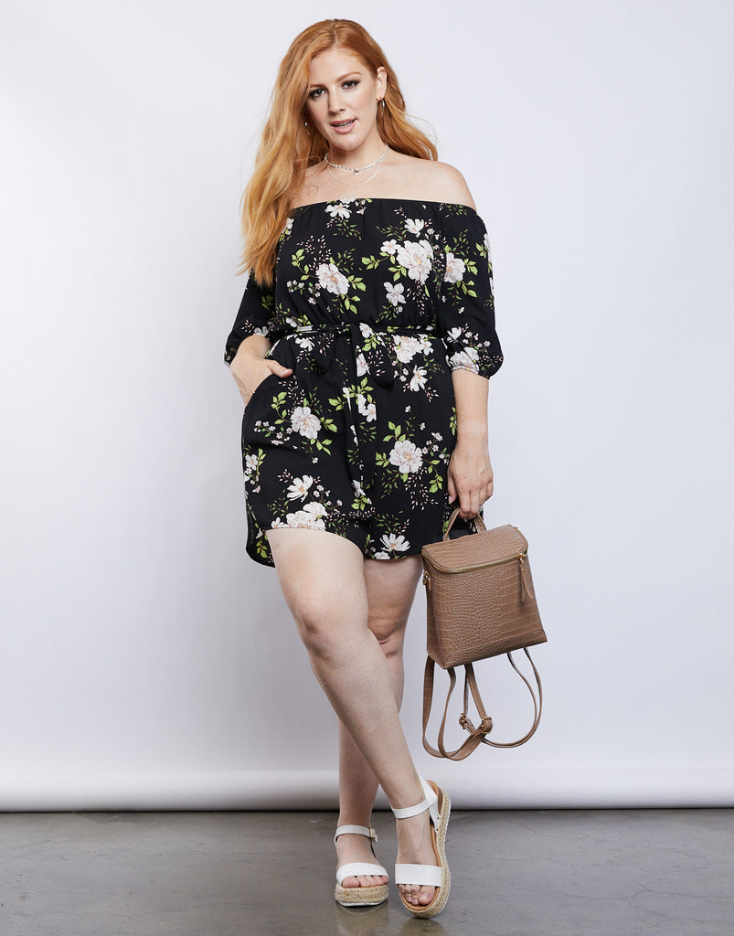 Curve Arianna Floral Romper Plus Size Rompers + Jumpsuits -2020AVE