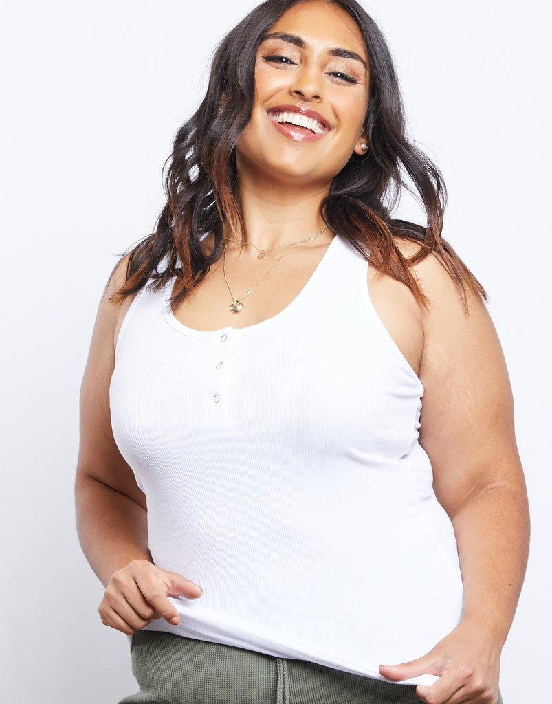Curve Around and About Tank Plus Size Tops White 1XL -2020AVE