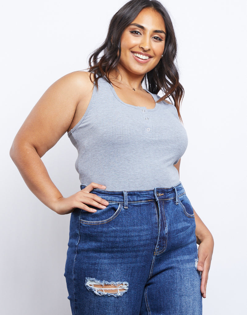 Curve Around and About Tank Plus Size Tops Gray 1XL -2020AVE