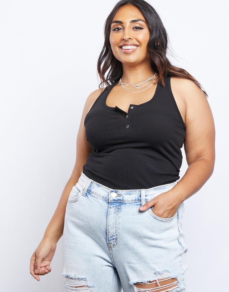 Curve Around and About Tank Plus Size Tops Black 1XL -2020AVE