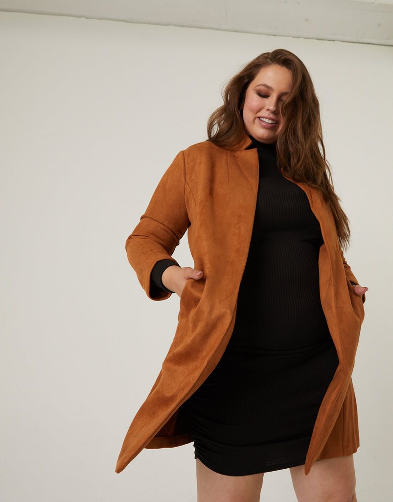 Curve Long Suede Blazer Plus Size Outerwear Tan 1XL -2020AVE