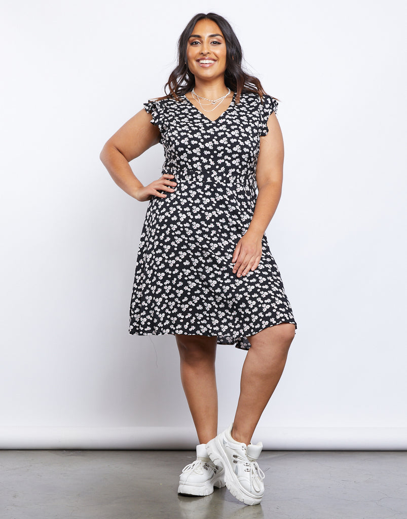 Curve Blooming Sundress Plus Size Dresses Black 1XL -2020AVE