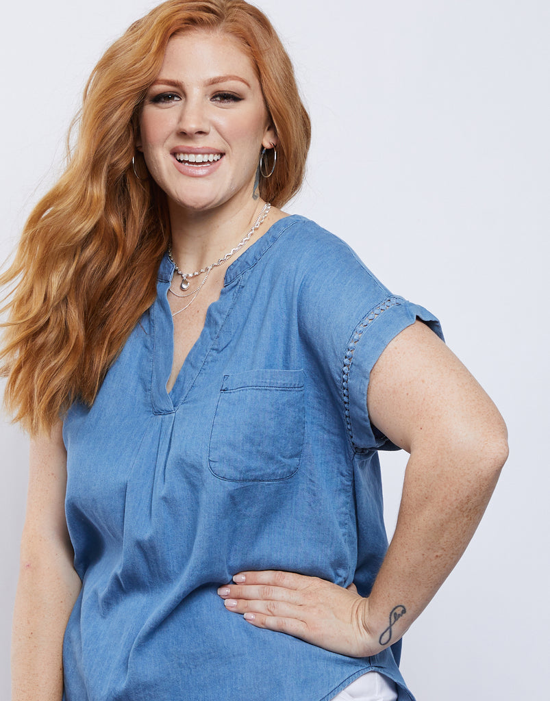 Curve Blue Moon Denim Top Plus Size Tops -2020AVE