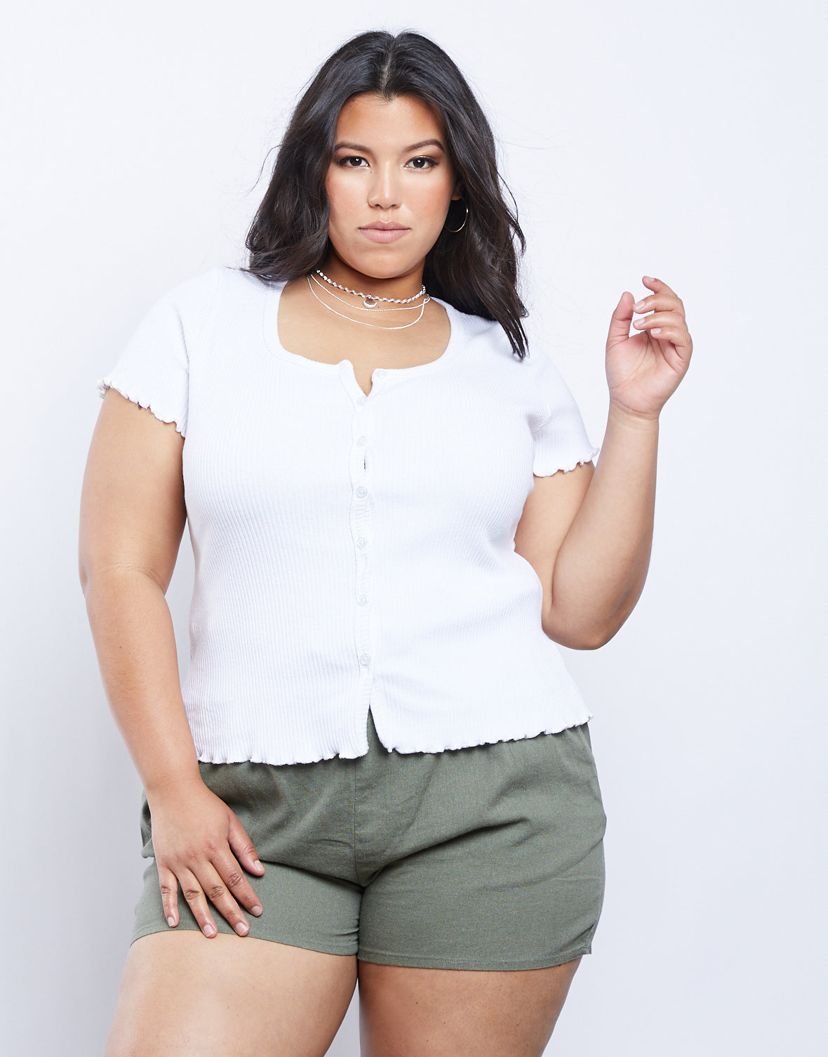 Plus Size Button Front Tee