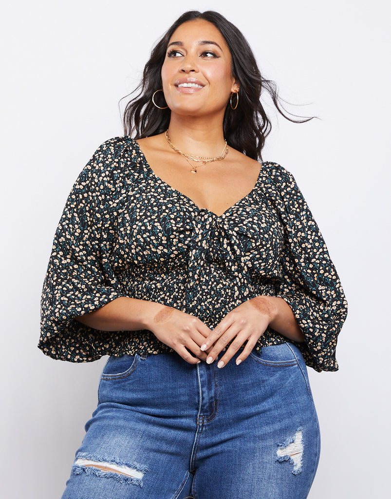 Curve Capulet Front Tie Top Plus Size Tops Black 1XL -2020AVE