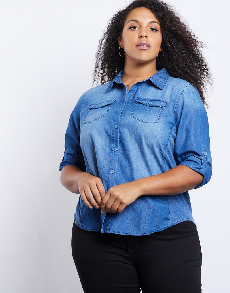 Curve Chambray Button Down Plus Size Tops -2020AVE