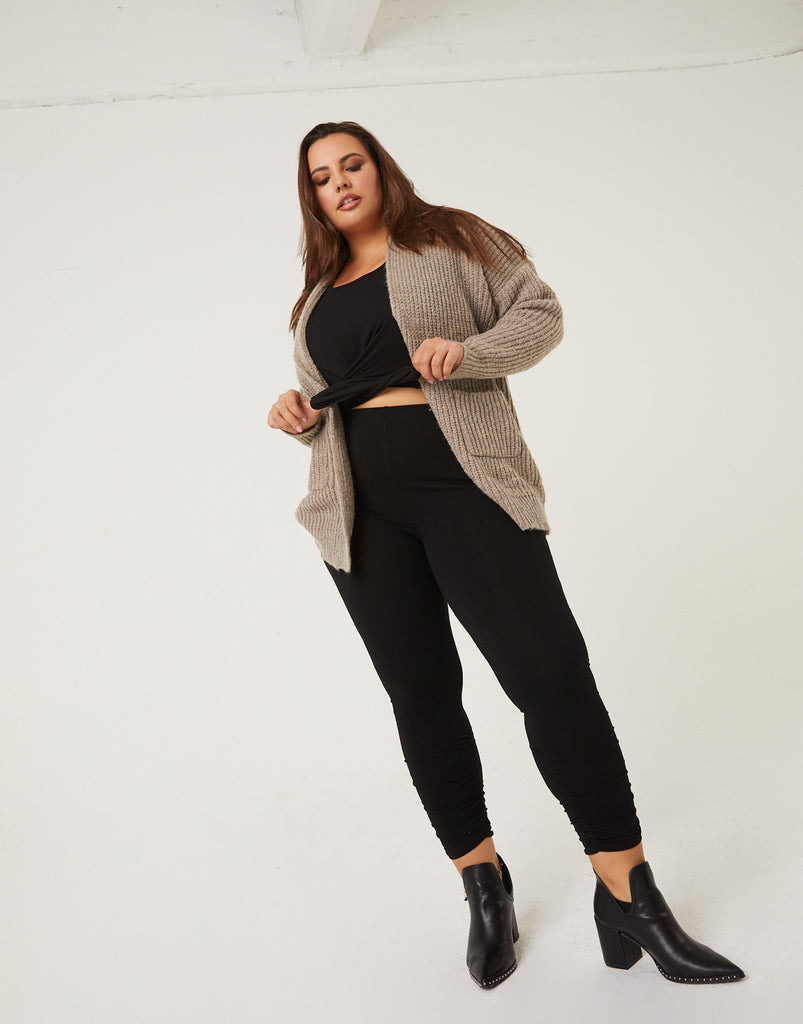 Curve Open Cardigan With Pockets Plus Size Outerwear -2020AVE