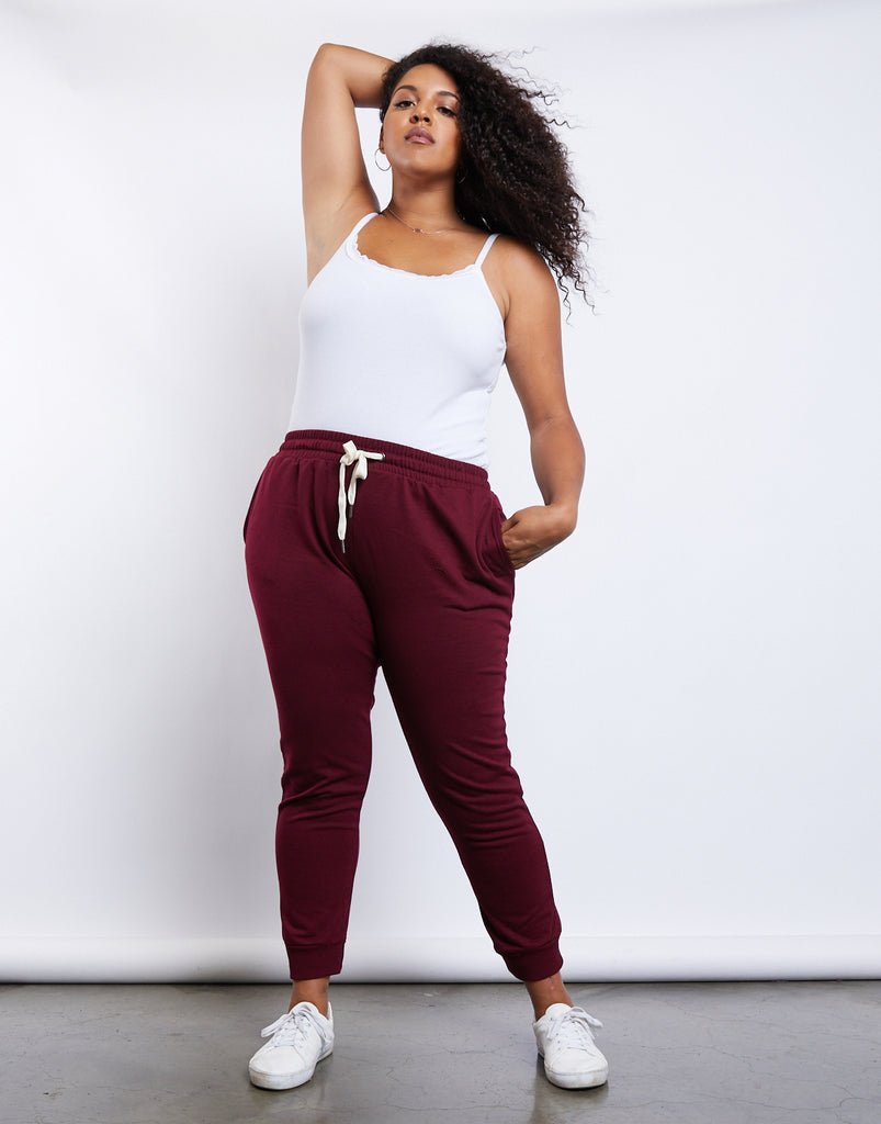 Curve Easy Does It Joggers Plus Size Bottoms Burgundy XL -2020AVE