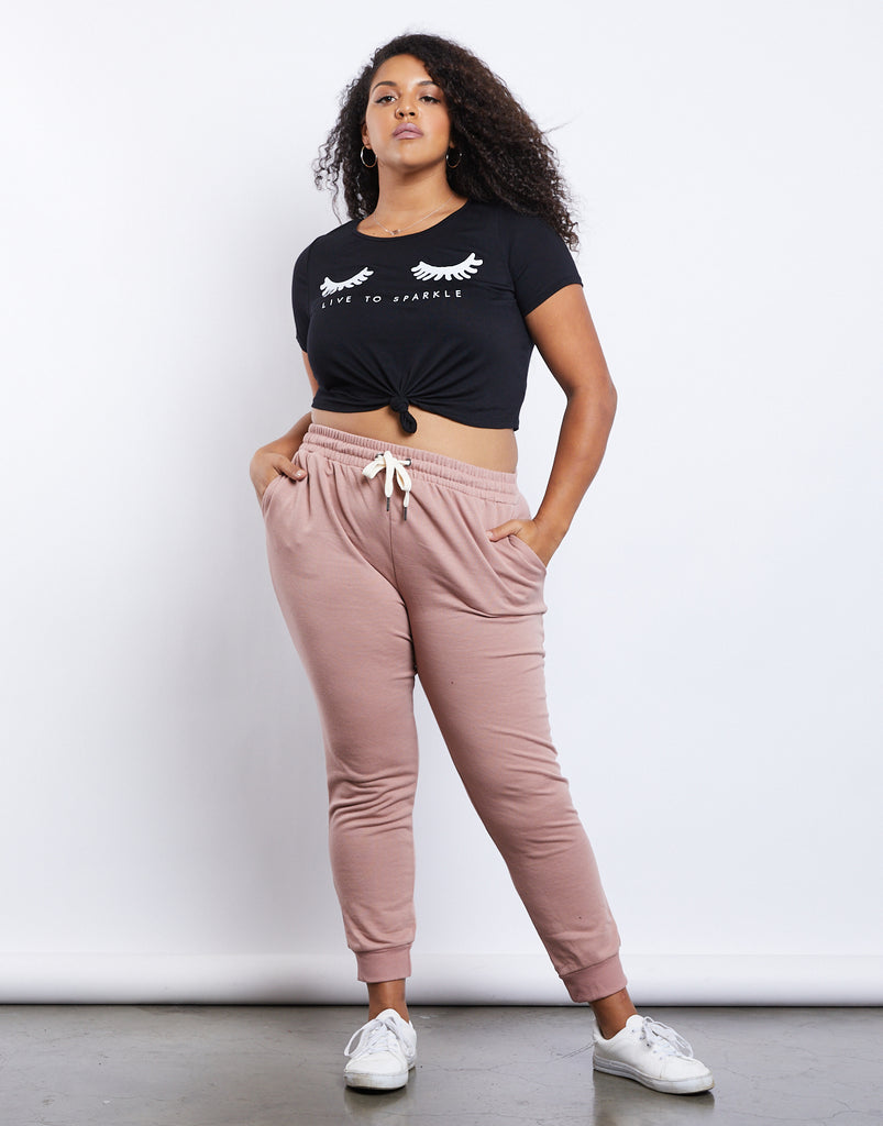 Curve Easy Does It Joggers Plus Size Bottoms Mauve XL -2020AVE