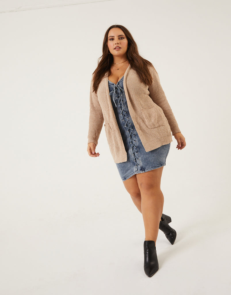 Curve Open Chenille Cardigan Plus Size Outerwear Oatmeal 1XL -2020AVE