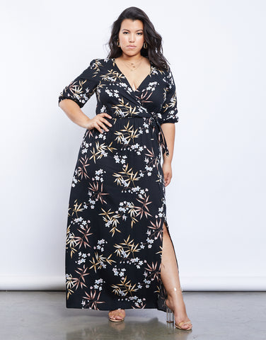 Plus Size Floral Dreams Wrap Dress